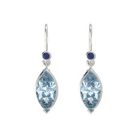 Marquise Aquamarine Platinum Earrings with Sapphire