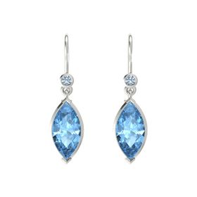 Marquise Blue Topaz Platinum Earring with Blue Topaz