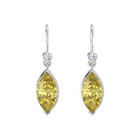 Marquise Yellow Sapphire Platinum Earrings with Diamond