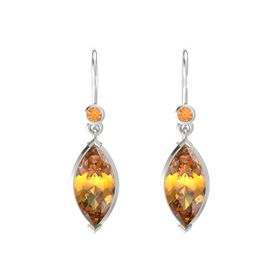 Marquise Citrine Platinum Earring with Citrine