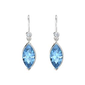 Marquise Blue Topaz Platinum Earring with Diamond