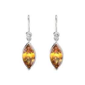 Marquise Citrine Sterling Silver Earrings with White Sapphire