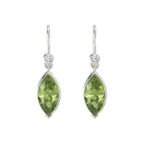 Marquise Peridot Sterling Silver Earring with Diamond