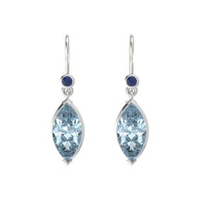 Marquise Aquamarine Sterling Silver Earrings with Sapphire