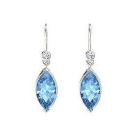 Marquise Blue Topaz Sterling Silver Earring with Diamond