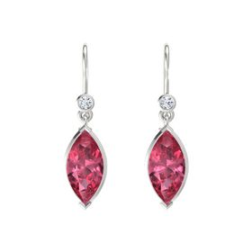 Marquise Pink Tourmaline Sterling Silver Earrings with Diamond