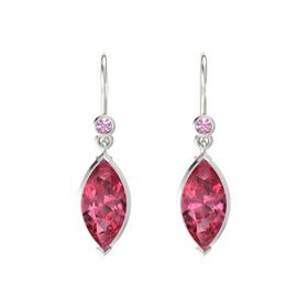 Marquise Pink Tourmaline Sterling Silver Earring with Pink Tourmaline