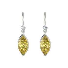 Marquise Yellow Sapphire Sterling Silver Earrings with Diamond