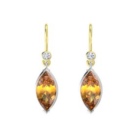 Marquise Citrine Sterling Silver Earring with Diamond