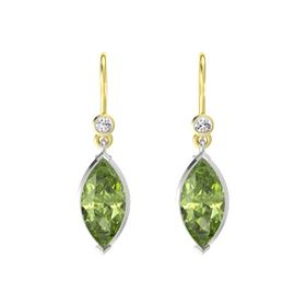 Marquise Peridot Sterling Silver Earring with White Sapphire