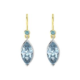Marquise Aquamarine Sterling Silver Earring with London Blue Topaz
