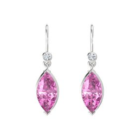 Marquise Pink Sapphire Sterling Silver Earrings with Diamond