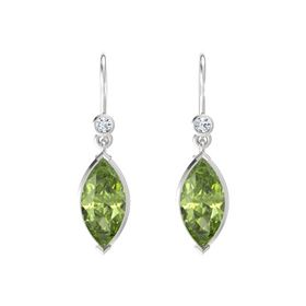 Marquise Peridot Sterling Silver Earrings with Diamond