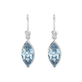 Marquise Aquamarine Sterling Silver Earrings with Diamond