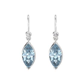 Marquise Aquamarine Sterling Silver Earring with White Sapphire