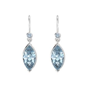 Marquise Aquamarine Sterling Silver Earrings with Blue Topaz