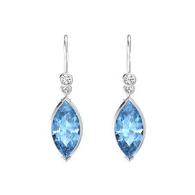 Marquise Blue Topaz Sterling Silver Earrings with Diamond