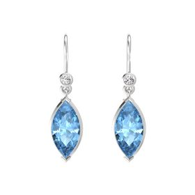 Marquise Blue Topaz Sterling Silver Earring with White Sapphire