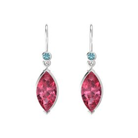 Marquise Pink Tourmaline Sterling Silver Earrings with London Blue Topaz