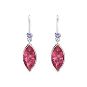 Marquise Pink Tourmaline Sterling Silver Earrings with Iolite