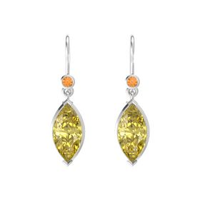 Marquise Yellow Sapphire Sterling Silver Earrings with Citrine