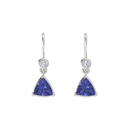 tanzanite box product earrings jewelry stud white trillion gold studs cut the