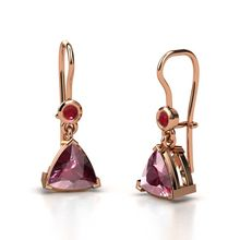Trillion Rhodolite Garnet 14K Rose Gold Earring with Ruby