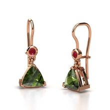 Trillion Green Tourmaline 14K Rose Gold Earrings with Ruby