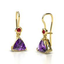 Trillion Amethyst 14K Yellow Gold Earring with Ruby