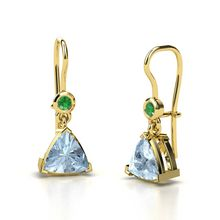 Trillion Aquamarine 14K Yellow Gold Earring with Emerald