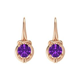 Round Amethyst 14K Rose Gold Earrings