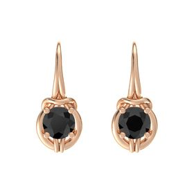 Round Black Diamond 14K Rose Gold Earring