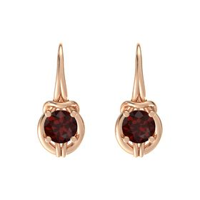 Round Red Garnet 14K Rose Gold Earring