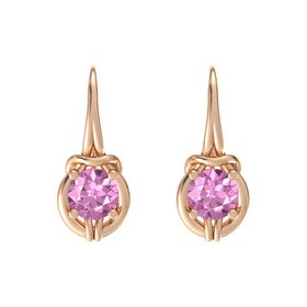 Round Pink Sapphire 14K Rose Gold Earring