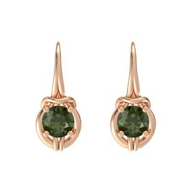 Round Green Tourmaline 14K Rose Gold Earrings