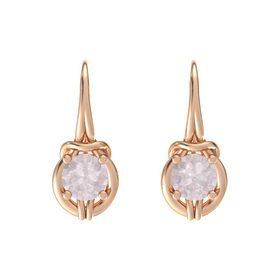 Round Rose Quartz 14K Rose Gold Earring