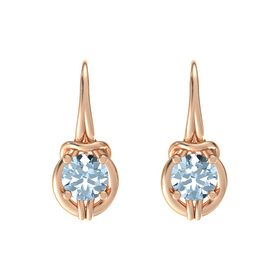 Round Aquamarine 14K Rose Gold Earrings