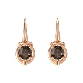 Round Smoky Quartz 14K Rose Gold Earring