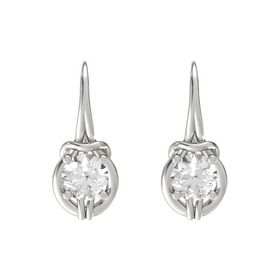 Round Rock Crystal 14K White Gold Earrings