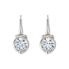Round Moissanite 14K White Gold Earring