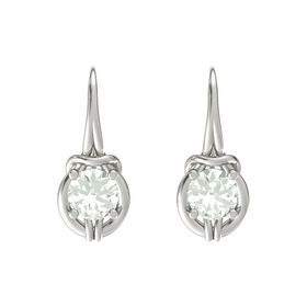 Round Green Amethyst 14K White Gold Earrings