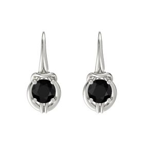 Round Black Onyx 14K White Gold Earrings