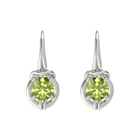 Round Peridot 14K White Gold Earrings