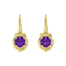 Round Amethyst 14K Yellow Gold Earrings
