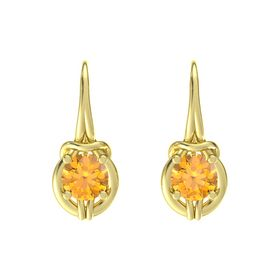 Round Citrine 14K Yellow Gold Earring