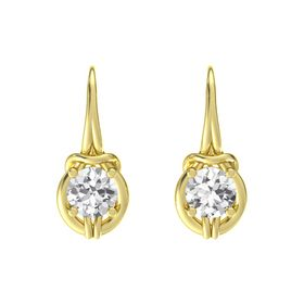 Round White Sapphire 14K Yellow Gold Earrings