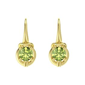 Round Peridot 14K Yellow Gold Earring