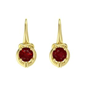 Round Ruby 14K Yellow Gold Earrings