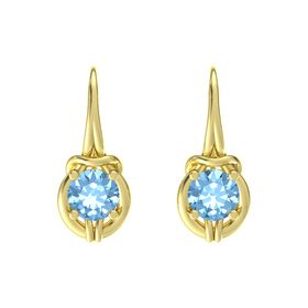 Round Blue Topaz 14K Yellow Gold Earrings