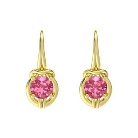 Round Pink Tourmaline 14K Yellow Gold Earrings